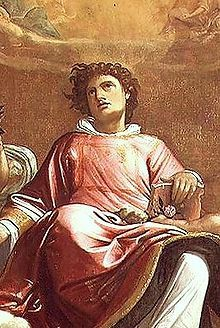 Saint Stephen, one of the first seven deacons in the Christian Church, holding a Gospel Book. Painting by Giacomo Cavedone 1601