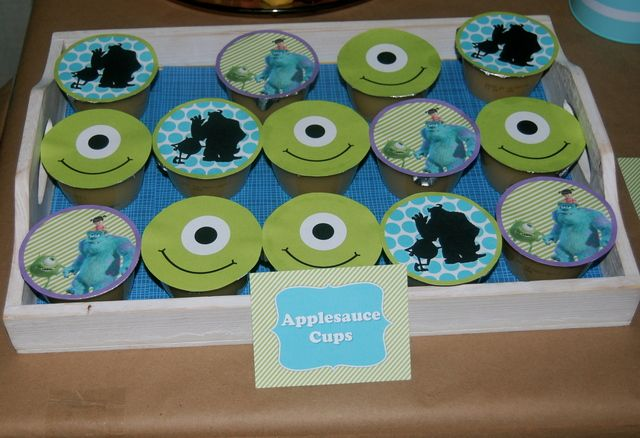 Applesauce cups at a Monsters Inc party