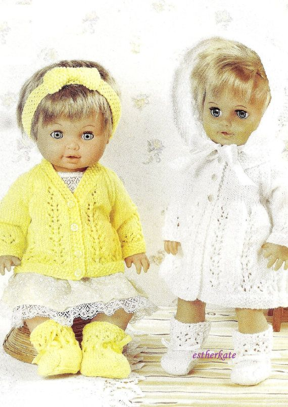 Vintage Knitting Patterns Dolls Clothes : VINTAGE knitting pattern pdf, dolls clothes cardigan and ...