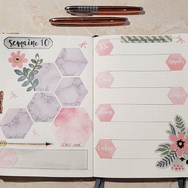 Bullet journal weekly sread - Marble