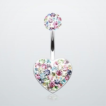 Brilliant Motley Tiffany Inspired Heart Belly Button Ring #piercing #navelring #bbring
