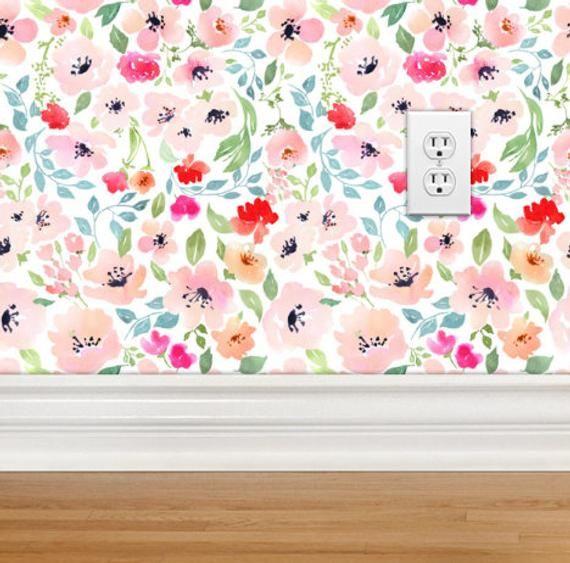 Floral Wallpaper Nursery Girls Room Removable Wallpaper