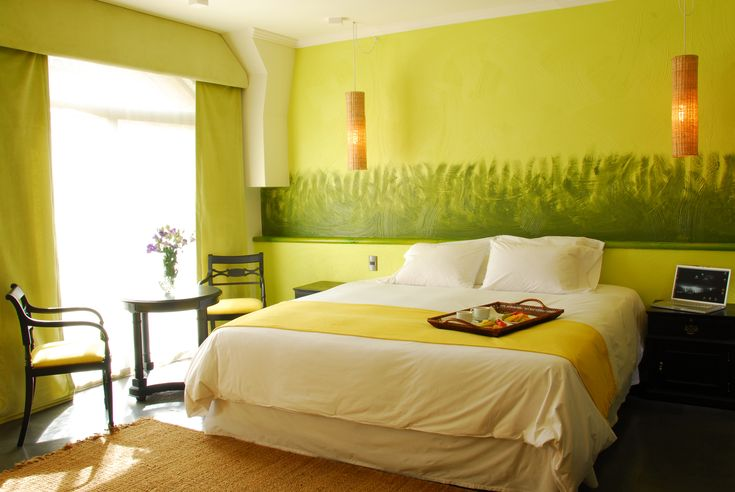 #hotel #bedroom #design #colors #style #suite #bed #chile #travel #mood #relax #vacations #green #yellow
