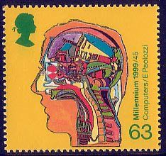 Millennium Series. The Inventors' Tale 63p Stamp (1999) Computer inside Human Head (Alan Turing's work on computers)