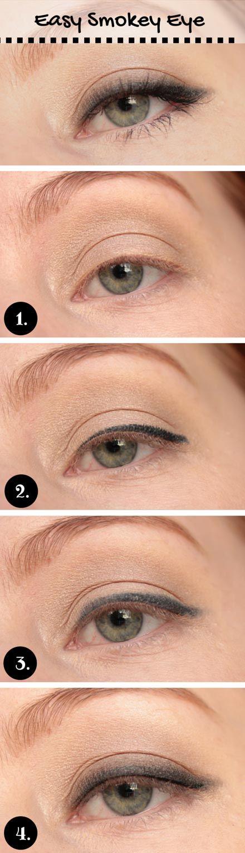 Easy Smokey Eye for Blue Eyes:: use clinque henna essentials quad shadow kit