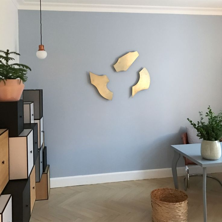 Unique and stunning home office wall decor. XOX, Yin, Zeppelin in a playful mood. Brushed brass.