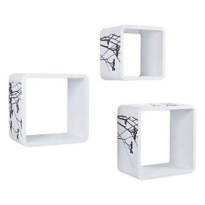 3 étagères cubiques Juniper blanc et noir max. 36 x 36 x 20 cm