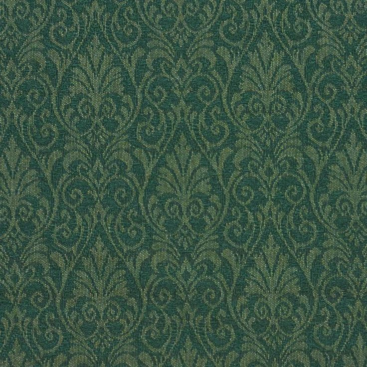 dark green color heirloom or vintage and small scale pattern damask or jacquard type upholstery fabric called hunter by kovi fabrics