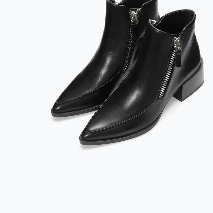ZARA - SHOES & BAGS - LEATHER ANKLE BOOT WITH ZIP -- gorgeous boots