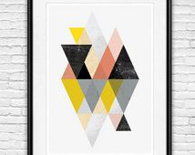 geometric print, abstract art, geometric art, abstract poster, scandinavian print, minimalist art, watercolor abstract, mid century modern