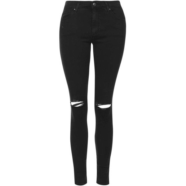 TOPSHOP MOTO Washed Black Ripped Leigh Jeans ($62) ❤ liked on Polyvore featuring jeans, pants, bottoms, pantalones, washed black, black skinny jeans, mid rise skinny jeans, distressed jeans, mid-rise jeans and destroyed skinny jeans