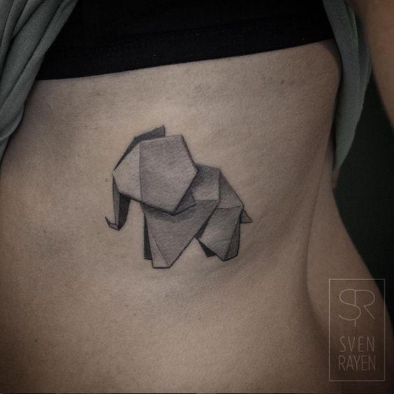 Origami Elephant Side Body Tattoo