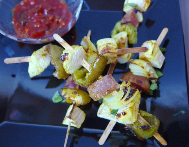 Afghan-inspired Vegetable Kebabs with Cilantro Garlic Ketchup