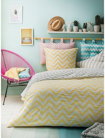 Parure da letto double face stampa spina di pesce                             jaune/blanc Casa   - Kiabi