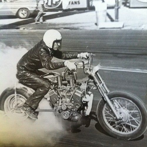 Old Motorcycle Drag Racing W An American V8 Muscle