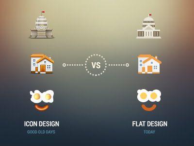 Icon design vs flat design