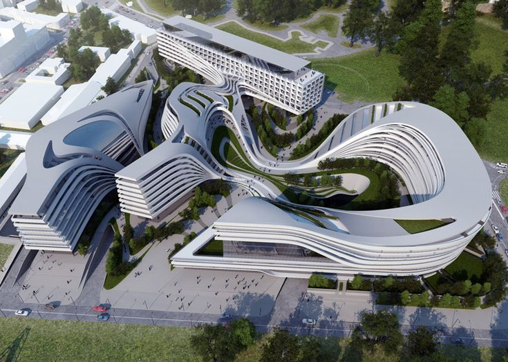 Zaha Hadid Architects has designed a swirling complex of apartments, offices and leisure facilities on the abandoned site of an old textile factory in Belgrade, Serbia