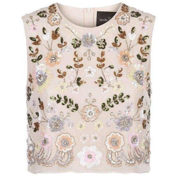 Needle & Thread Floral Embellished Crop Top ($165) ❤ liked on Polyvore featuring tops, pink crop top, pink floral top, going out tops, night out tops and party tops