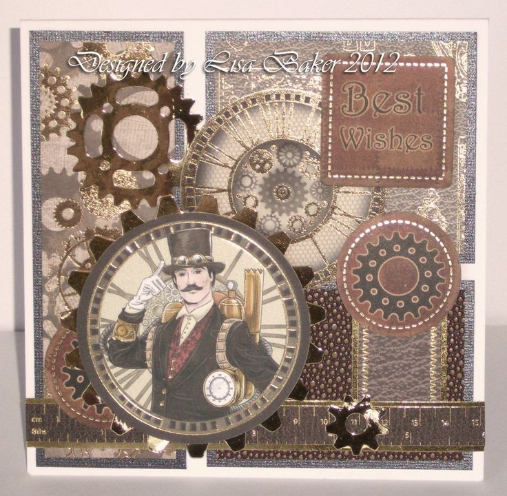 Cardmaking.  A card made using the Steampunk Collection from Kanban.  Available from my website:  http://www.lisabdesigns.co.uk/kanban-crafts-the-steampunk-collection-c-47_114_118.html