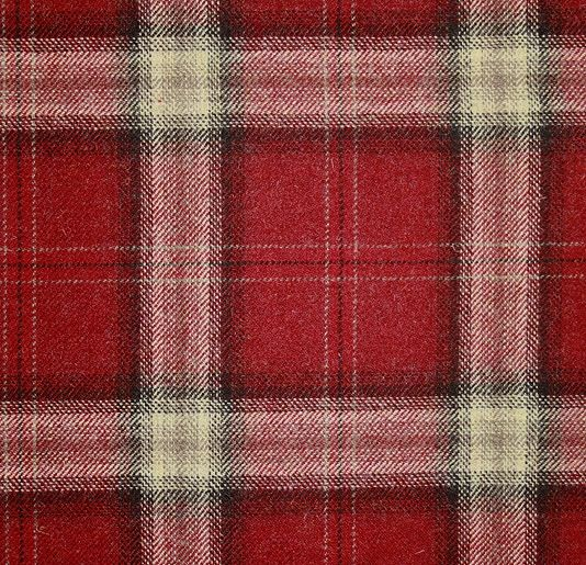 Morlich Wool Fabric A cherry red, fawn and black large check tartan wool fabric.