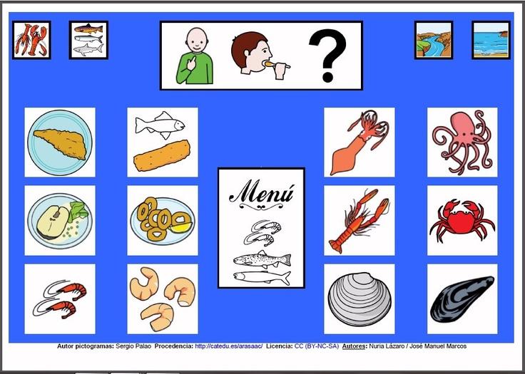 MATERIALES - Tableros de Comunicación de 12 casillas. Tablero de comunicación de doce casillas sobre alimentos: pescado y otros alimentos del mar. http://arasaac.org/materiales.php?id_material=224