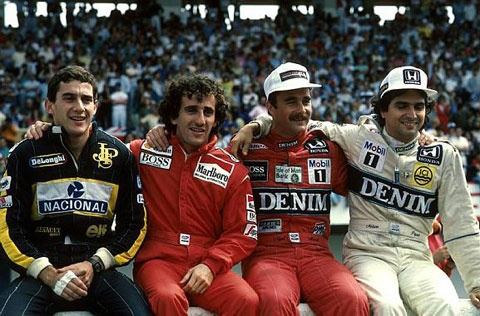 Ayrton Senna, Alain Prost, Nigel Mansell and Nelson Piquet, Estoril 1986