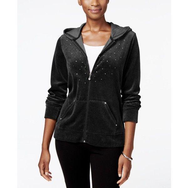 Karen Scott Petite Embellished Velour Hoodie, ($30) ❤ liked on Polyvore featuring tops, hoodies, deep black, hoodie top, sweatshirt hoodies, zip up hoodies, velour hoodies and karen scott tops