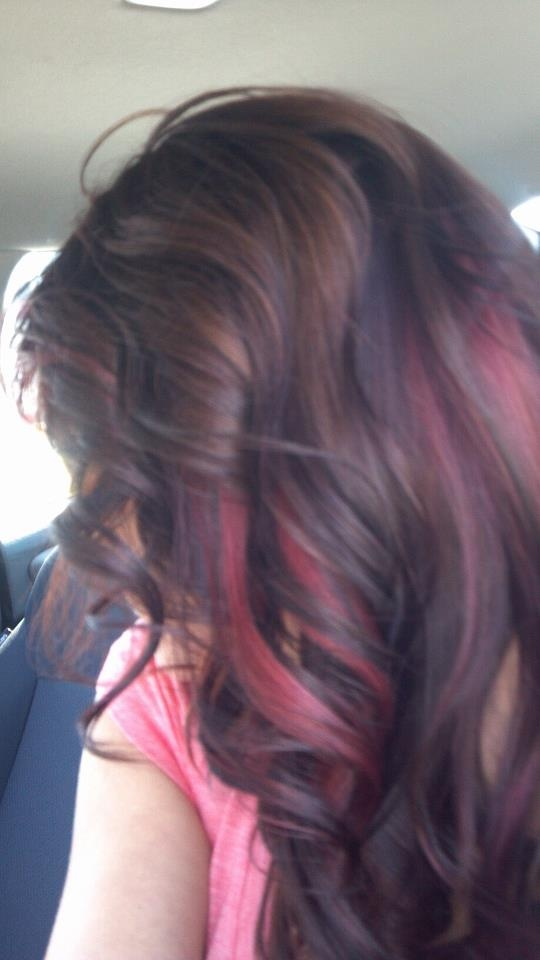 Brown hair with purple & red highlights