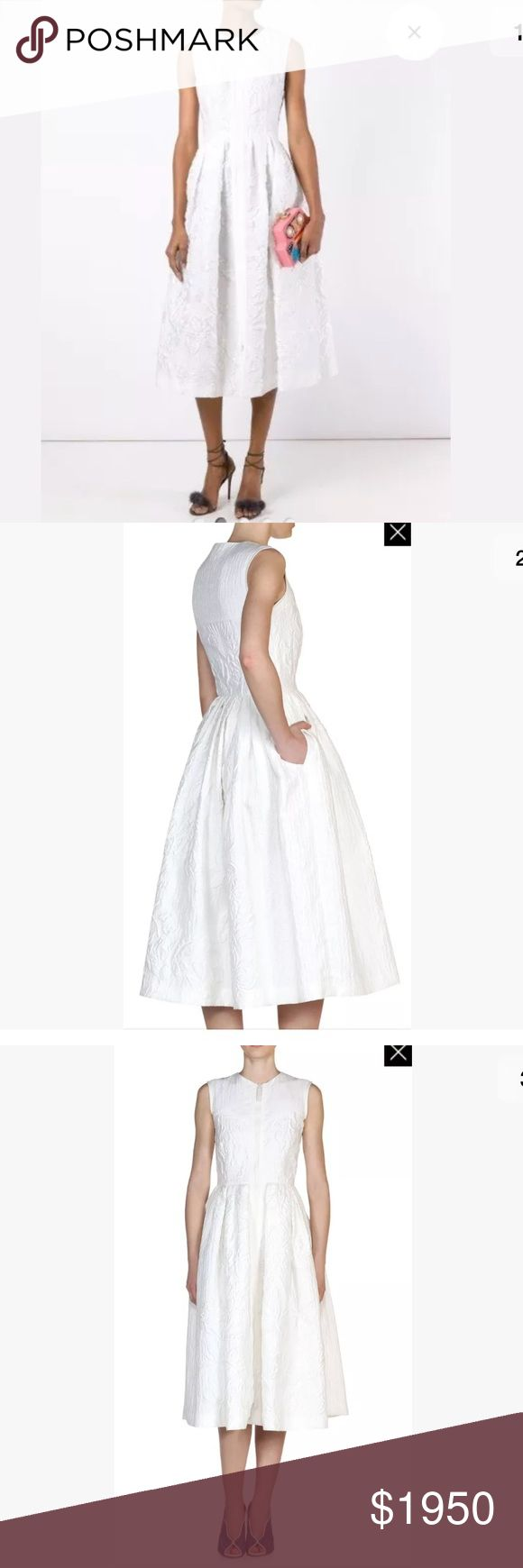 """💯% Authentic Brand New Fendi White Dress * Zip up dress in cotton silk blend jacquard  * Roundneck  * Sleevleless  * Zip front closure  * Pleated A-line skirt  * About 45"""" from shoulder to hem  * Cotton/silk/ nylon  * Dry clean  * Made in Italy  * Model shown is 5'10 (177cm) wearing US size 4 Fendi Dresses"""