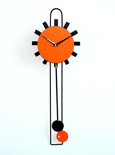 Modern Wall Clock Stylish Christmas New Year Birthday Marriage Anniversary  Lounge Living Room Bedroom (ORANGE PENDULUM 1012