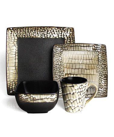 Look at this #zulilyfind! Black & White Boa 16-Piece Dinnerware Set #zulilyfinds