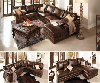 Leather sectional with chaise - nice size, great studding