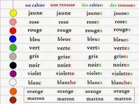 Référentiel accord des adjectifs de couleur