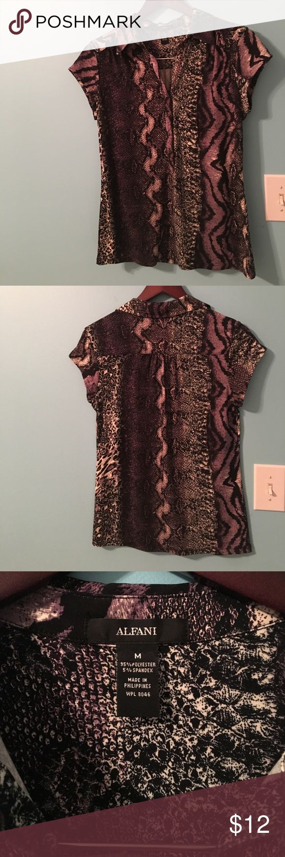 Short sleeve 3/4 button front animal print top Pretty black, purple and white animal print cap sleeve top. Drapes very nicely on the body. Only worn a couple of times. 95% Polyester 5% spandex Alfani Tops Blouses