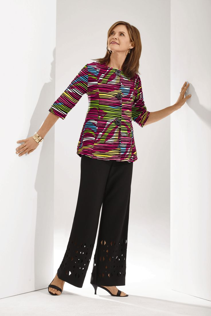 Abstract Textured Statement Jacket -- Style-standout women's jacket in a bold, colorful graphic print.