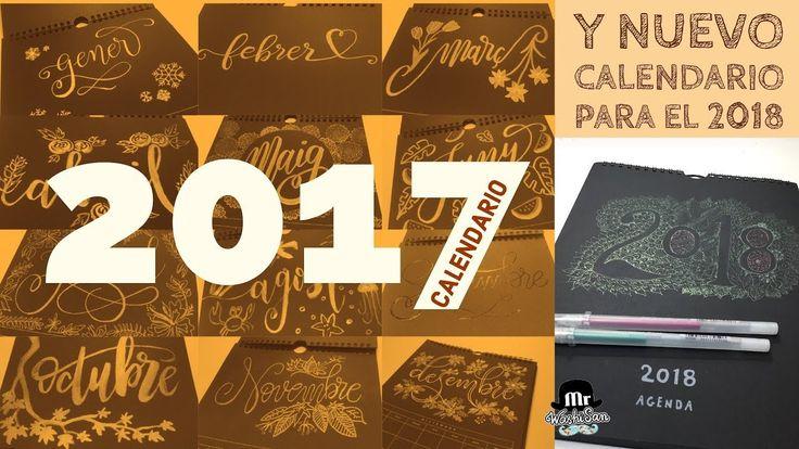 Calendario Lettering  2017 - Hola 2018 Zentangle con gelly roll