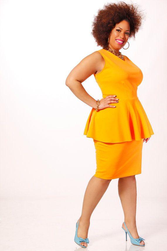 Always, always, always drawn to a yellow skirt. JIBRI Plus Size Peplum Top Boat Neck by jibrionline on Etsy, $110.00