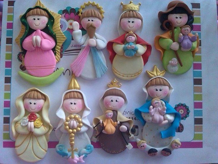 Santinhos em biscuit #porcelanafria #fimo #polymer clay