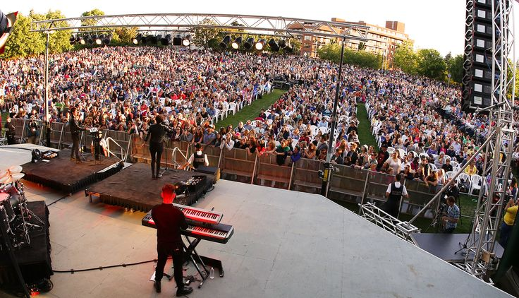 An amazing shot of Tegan and Sara and crowd, July 23, 2014 at Peterborough Musicfest.