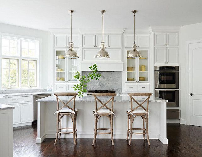 White Kitchen Kitchen Features Three Restoration Hardware Harmon Pendants  Illuminating A White Center Island Topped With Gray Quartzite Lined With  Three ...
