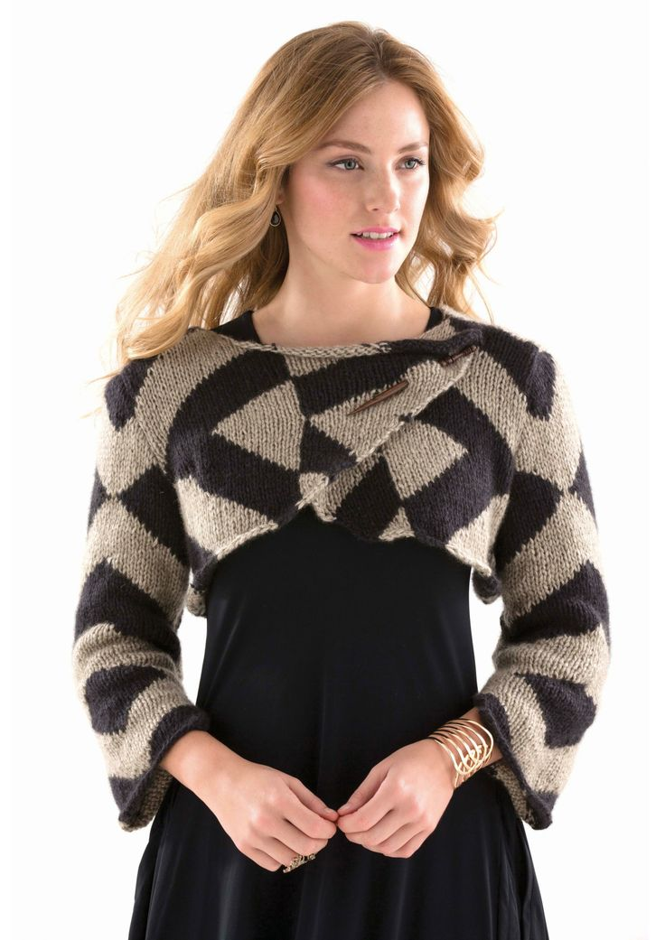 GRAPHIC CROPPED CARDI - Designed by Amy Micallef, as featured in the Zealana AIR Chunky Pattern Book.