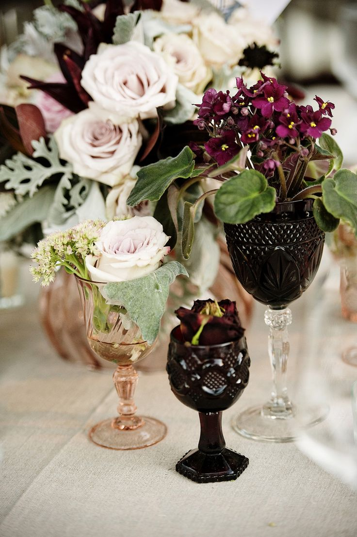 pink and plum floral centerpieces