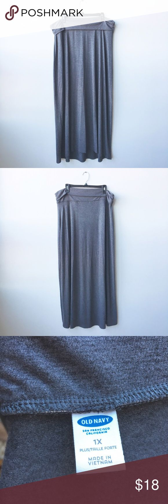 Dark Gray Old Navy Fold-Over Jersey Maxi Skirt Plus size maxi skirt from Old Navy. Dark gray super soft jersey. Women's size 1X. Never worn. NWOT. Old Navy Skirts Maxi