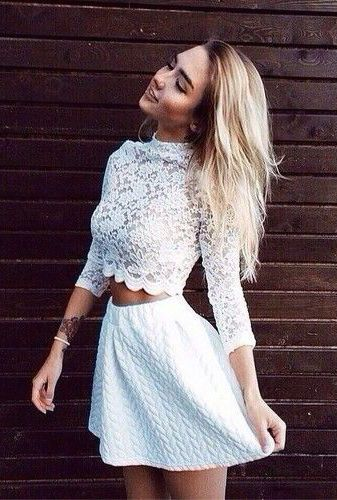 #summer #fashion / lace crop top