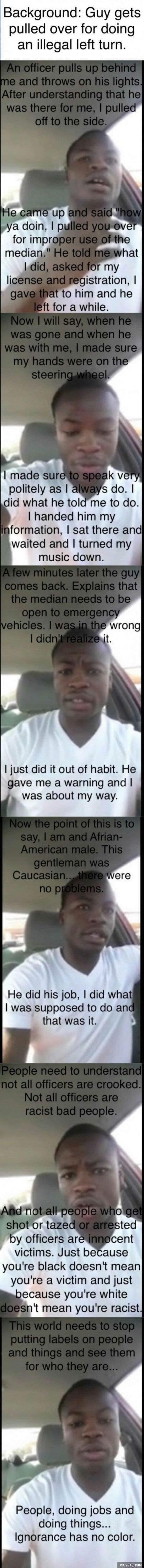 Black man gets pulled over by white cop