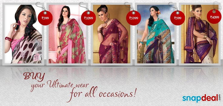 #Sarees embellished with embroidery,   lace work.  http://www.snapdeal.com/products/women-apparel-sarees?utm_source=Fbpost_campaign=Delhi_content=Pinterest_medium=151012_term=Prod