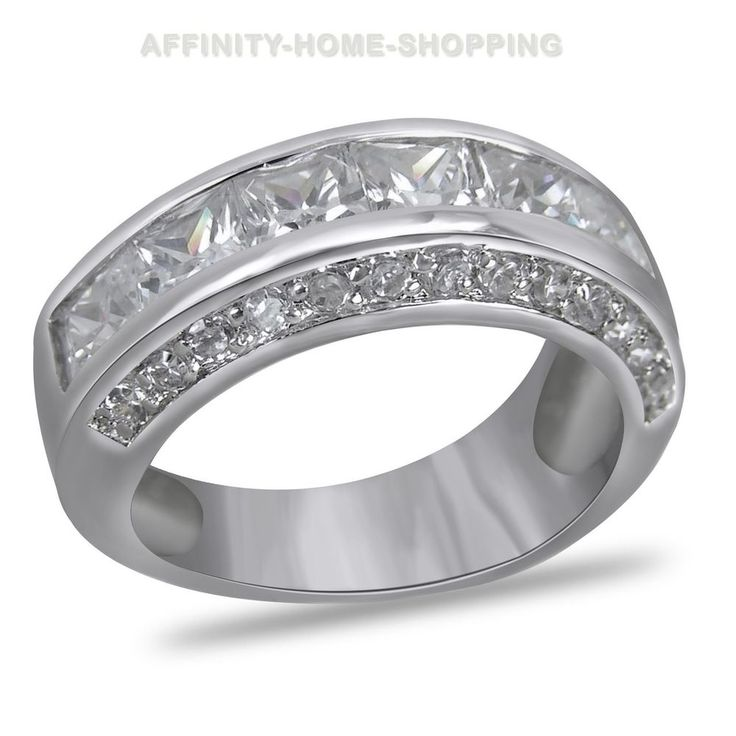 New Mens Ring Platinum-ep Sterling Silver Wedding Size 6 to 13½! Free Shipping #affinityhomeshopping #Band