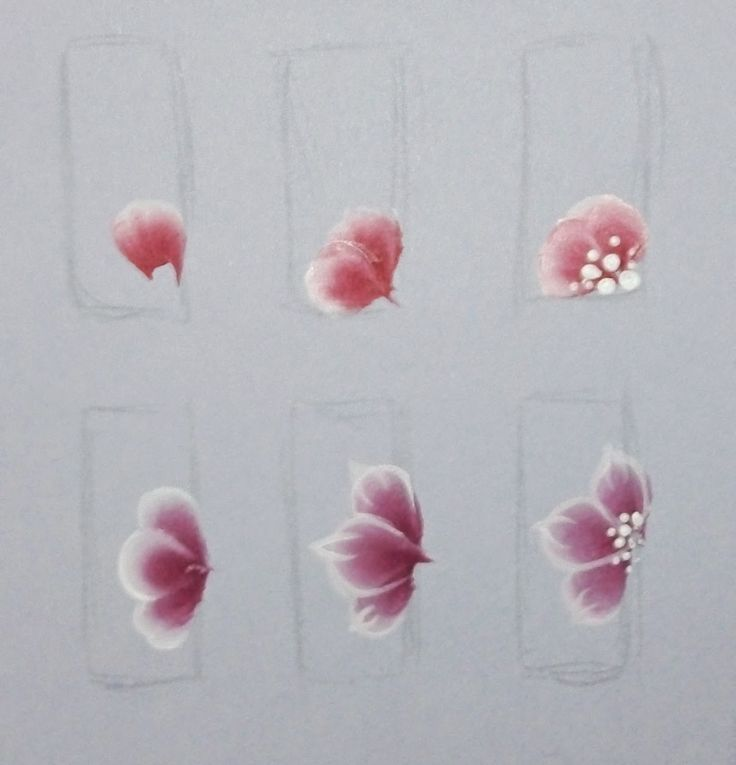 One Stroke Painting: Flowers on nails