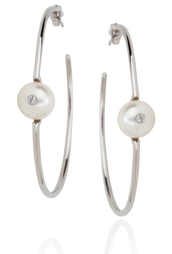Odessa Collection white pearl hoop earrings