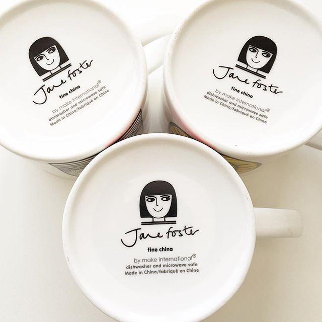 Still makes me smile that my little logo head is on the bottom of all my mugs! @makeinternational #janefostermugs @janefosterdesigns #logo #branding